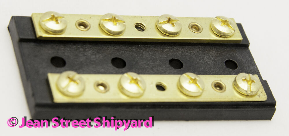 marine boat rv brass 4 gang duel buss bar block positive