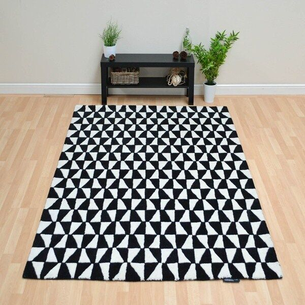 Black And White Rug Ebay Uk: Plantation Geometric Black White 01 Luxury Wool Rug In