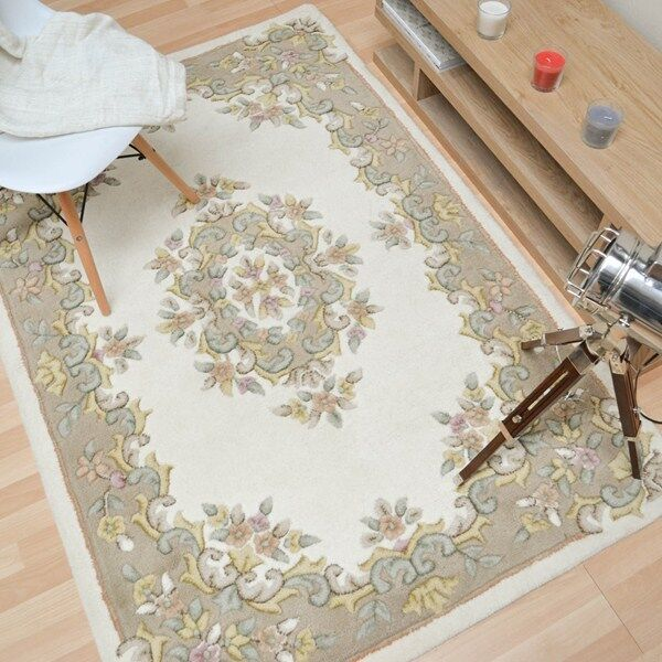 Sale On Jewel Aubusson Ivory Beige 03 Chinese Carved Wool