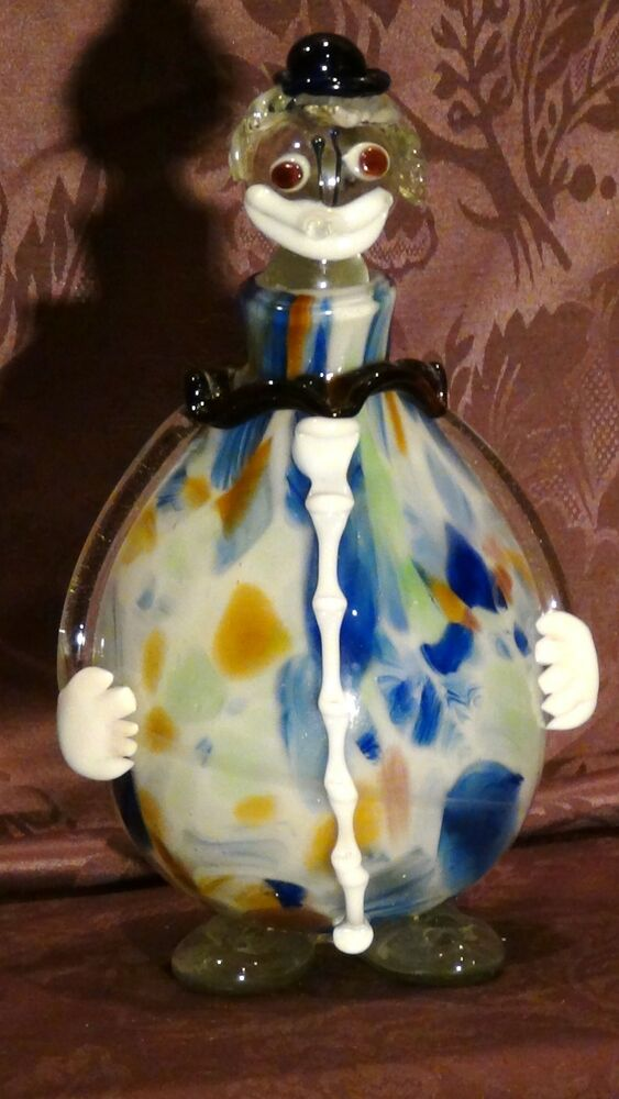 murano glass hand blownart clown decanter bottle italy 11
