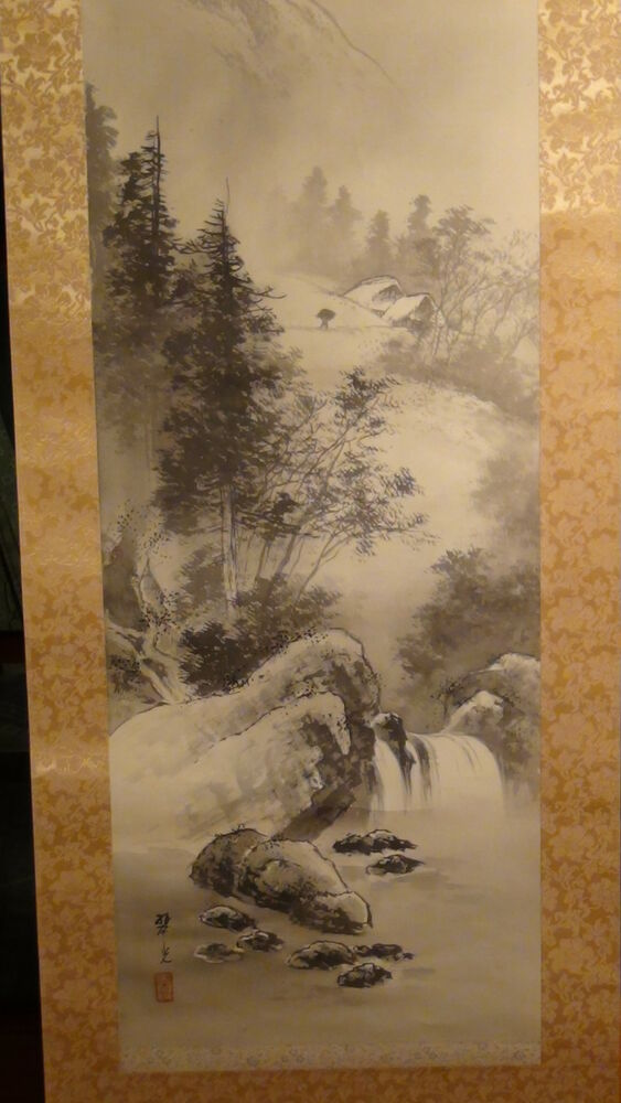 ANTIQUE EARLY 20C CHINESE WATERCOLOR SCROLL PAINTING ON