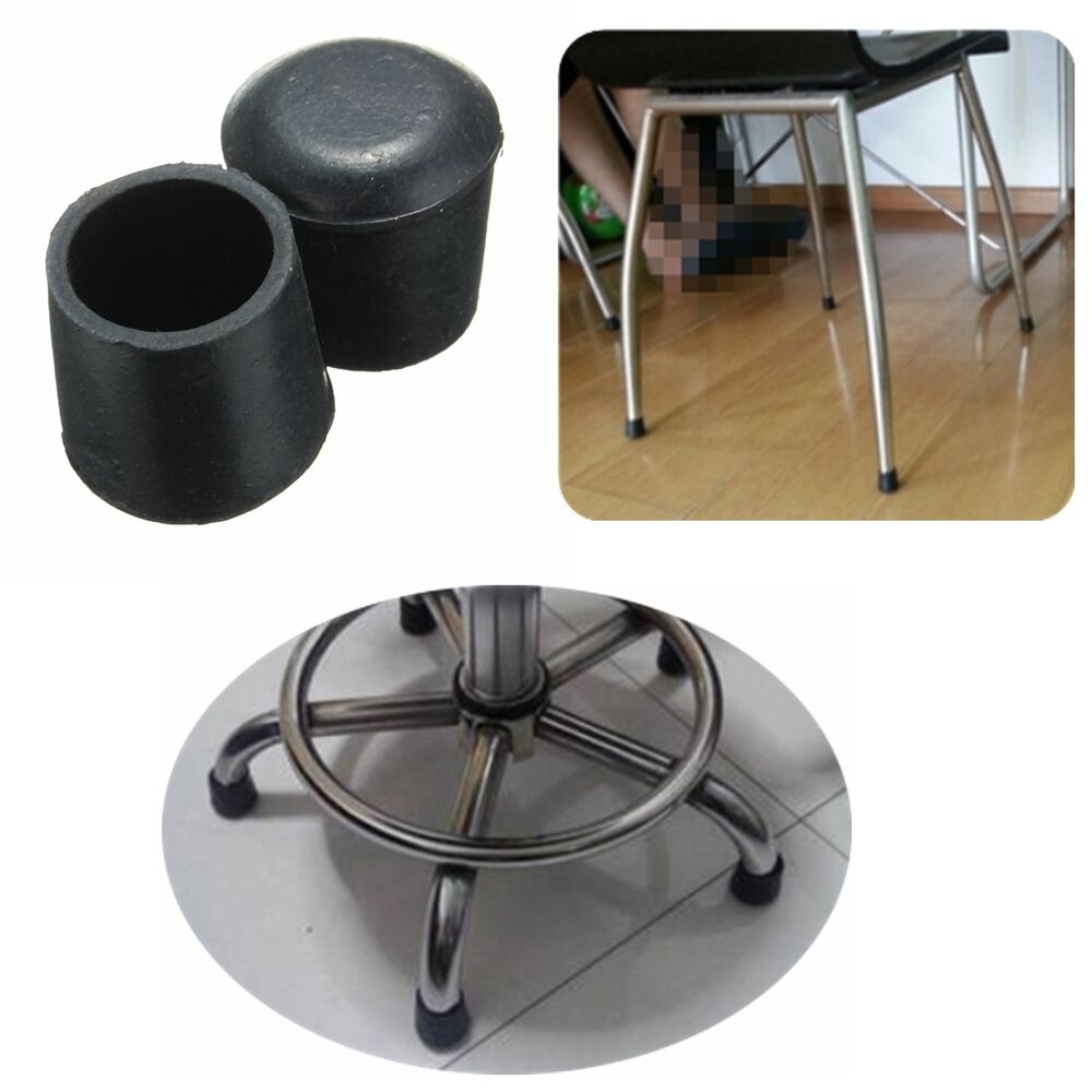 4 Pcs Black Rubber Chair Table Feet Pipe Tubing End