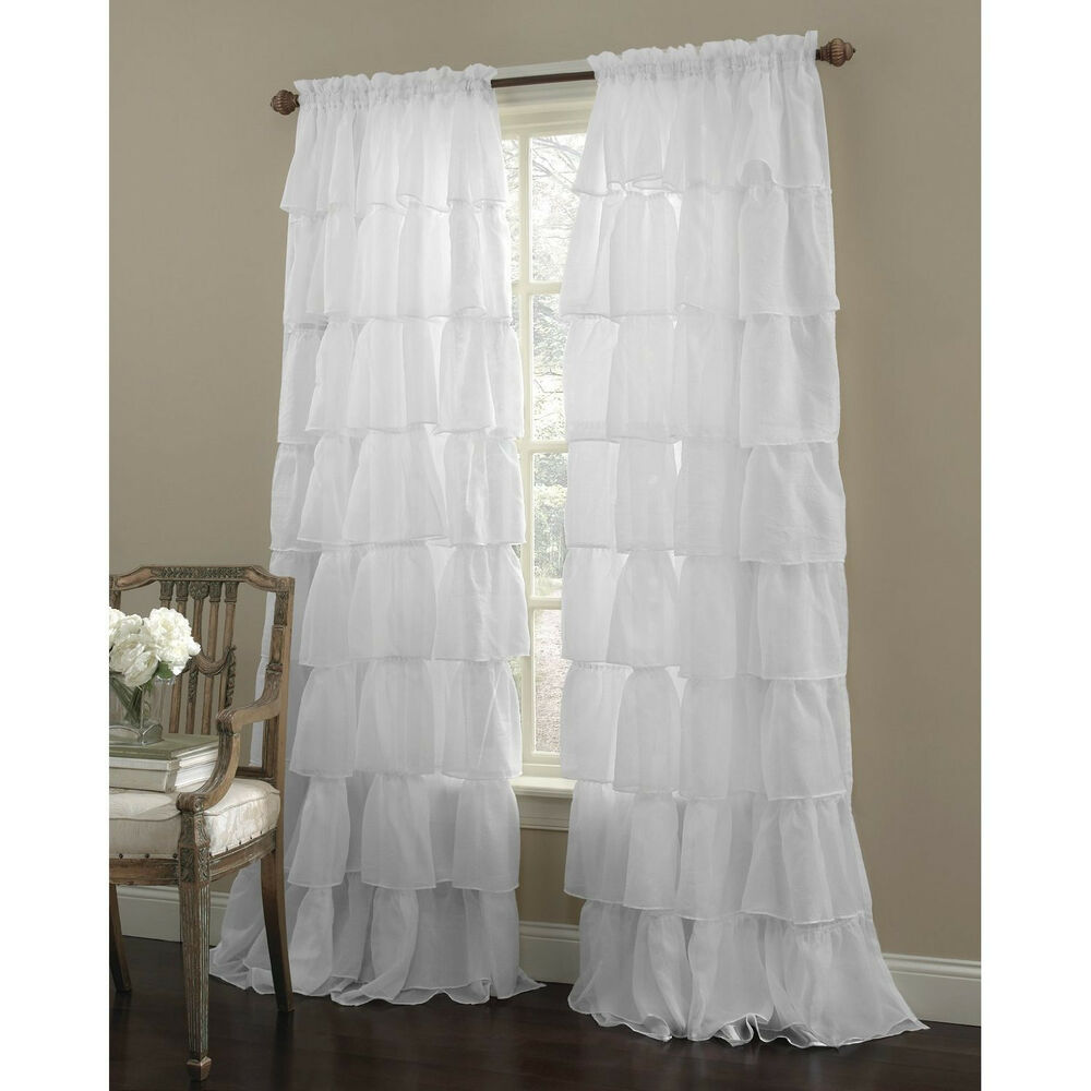 Two (2) Gypsy Ruffled Sheer Curtain Panels, White, 60