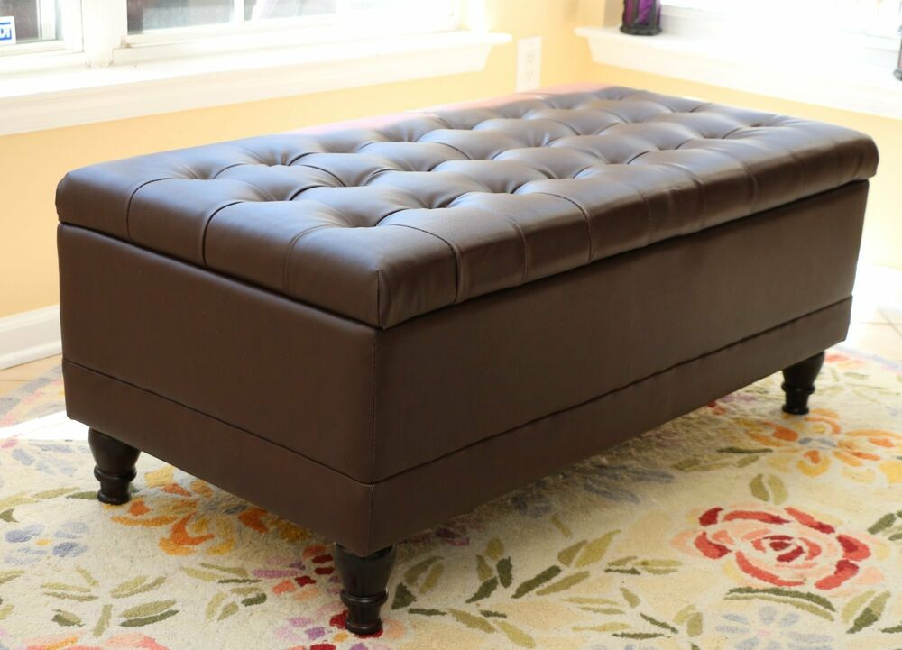 Tufted storage ottoman dark brown faux leather bench foot rest coffee table new ebay Ottoman bench coffee table