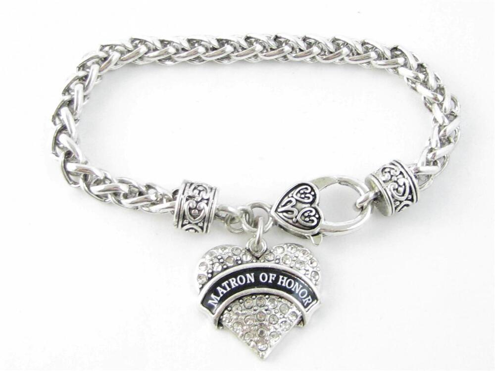Wedding Gift Jewelry: Matron Of Honor Clear Crystal Heart Silver Bracelet