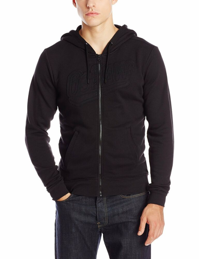 nwt men 39 s g star raw salvos full zip hooded sweater hoodie black extra. Black Bedroom Furniture Sets. Home Design Ideas
