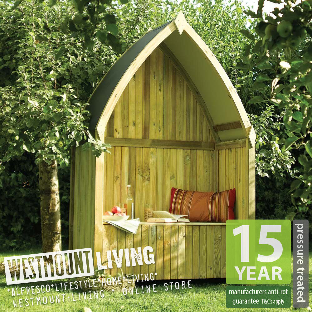 New Wooden Boat Shaped Garden Arbour Bench Pressure