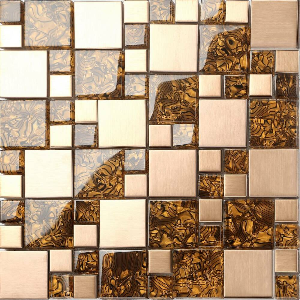 Metallic Mix Brushed Steel Copper Effect Glass Mosaic Wall