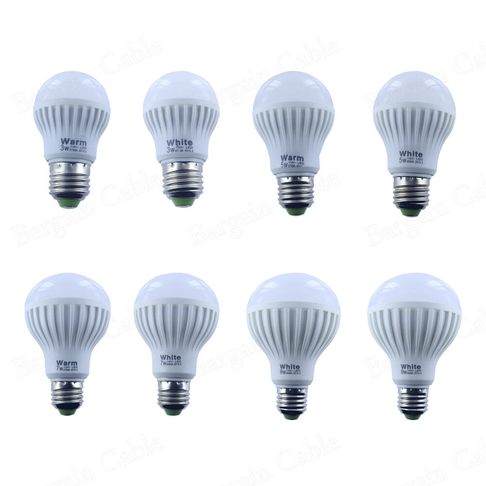 3w 5w 7w 9w 12w e26 dimmable non dimmable 110v warm cool white led light bulb ebay. Black Bedroom Furniture Sets. Home Design Ideas