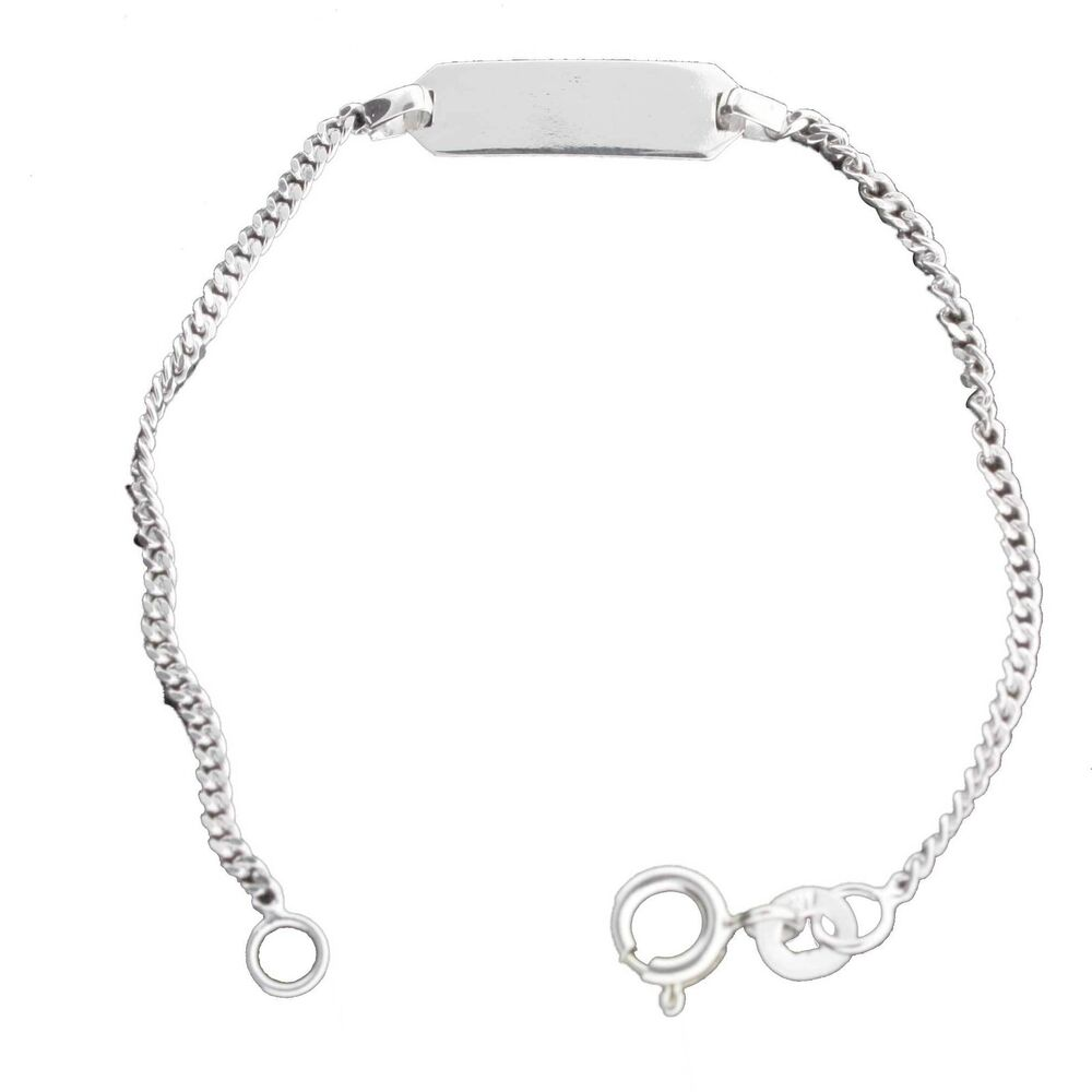 Sterling Silver Engravable Baby Id Bracelet 5 1 4 Inch