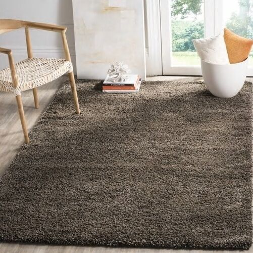 Mushroom Brown Gray Solid Shag Area Rug Rugs 8 X 10 4 6