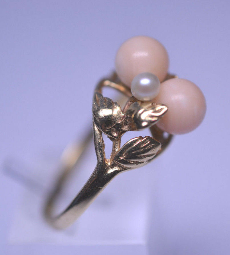 Vtg 14k Yellow Gold Angel Skin Coral Ring W Small Pearl