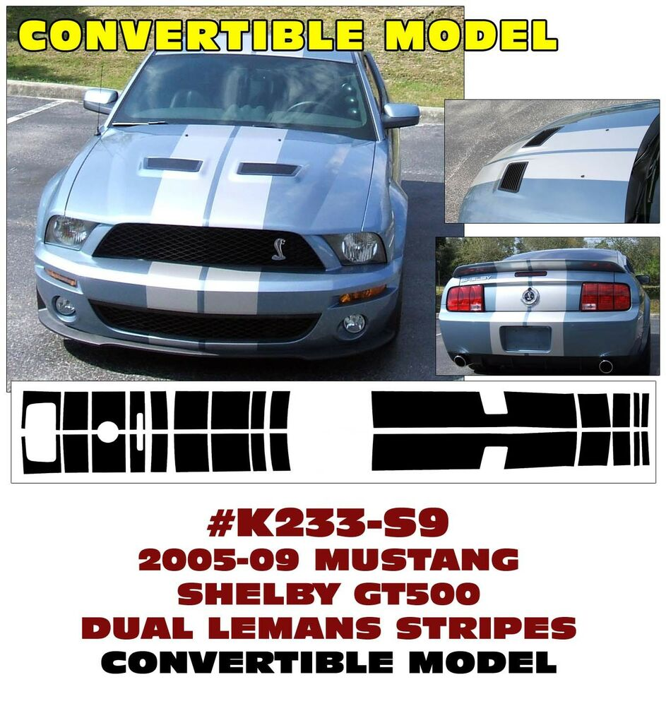 Details about k233 2005 09 mustang shelby gt500 lemans stripe convertible only