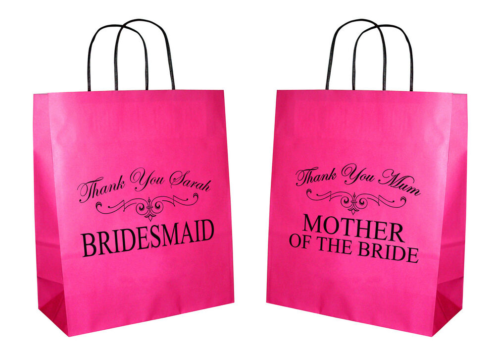 Small Personalised Wedding Gift Bags : Personalised Wedding Bridesmaid Mother of Bride Hot Pink Gift Bag ...