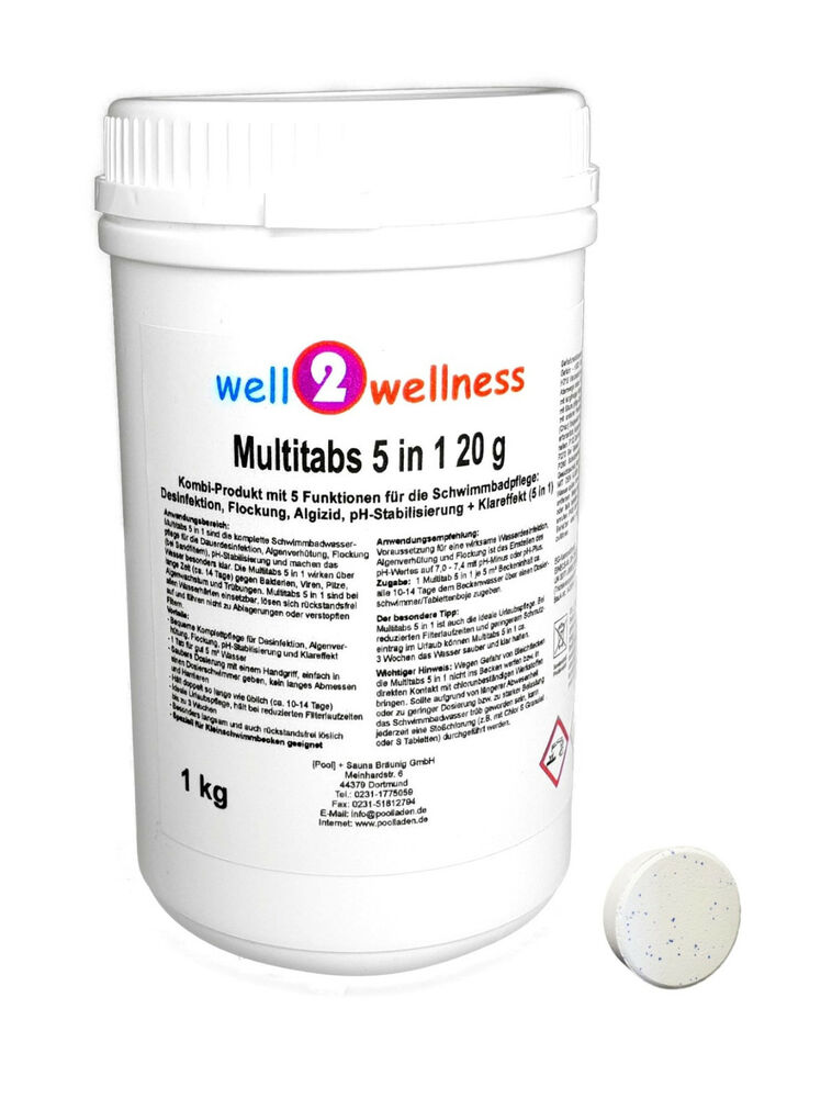 kleine chlor multitabs 5in1 20g chlortabletten 20g 1 0 kg ebay. Black Bedroom Furniture Sets. Home Design Ideas