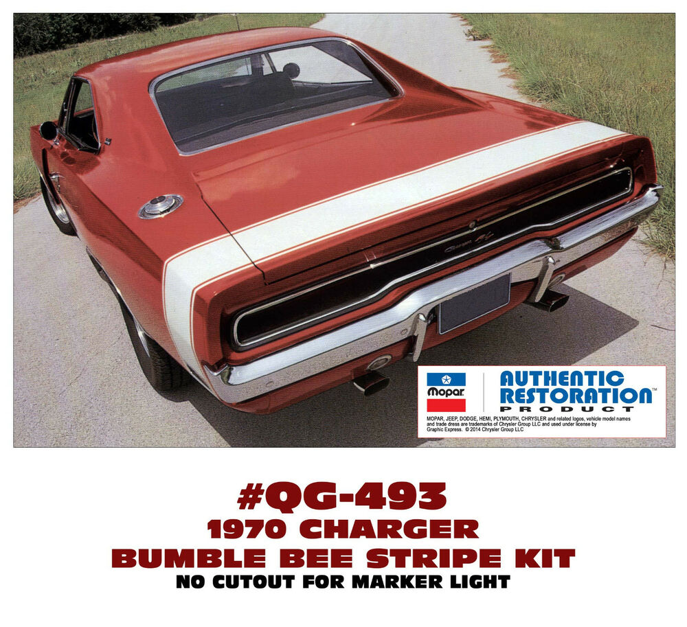 qg 493 1970 dodge charger bumble bee rear stripe decal. Black Bedroom Furniture Sets. Home Design Ideas