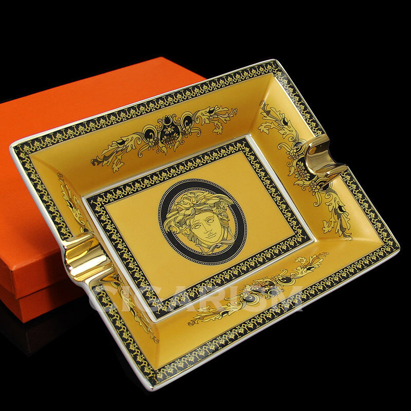 High End Yellow Lace Pattern Quality Ceramic Cigar Ashtray