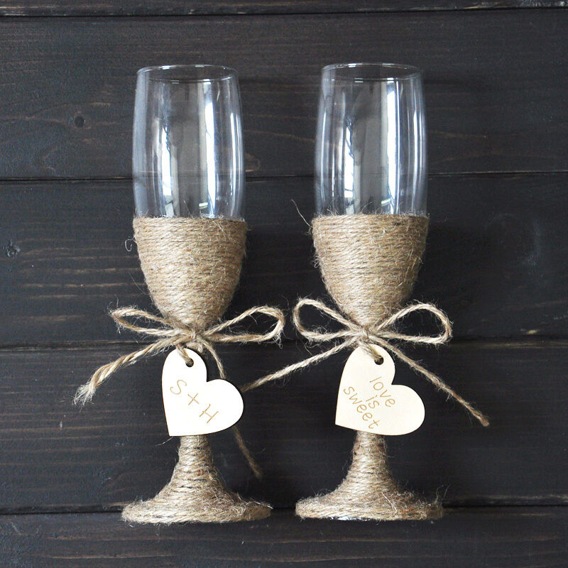 wedding champagne toasting flutes personalized wedding glasses set