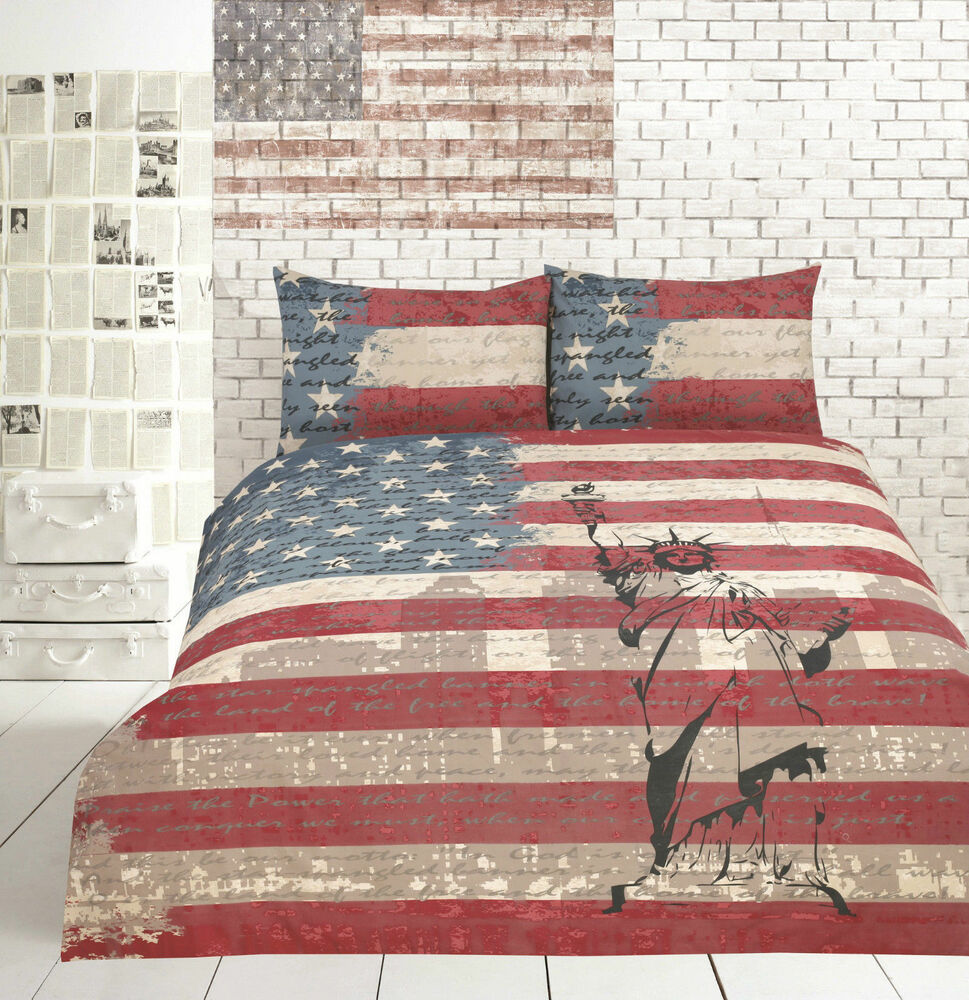 Retro Usa Vintage Flag New York Quilt Doona Cover Set