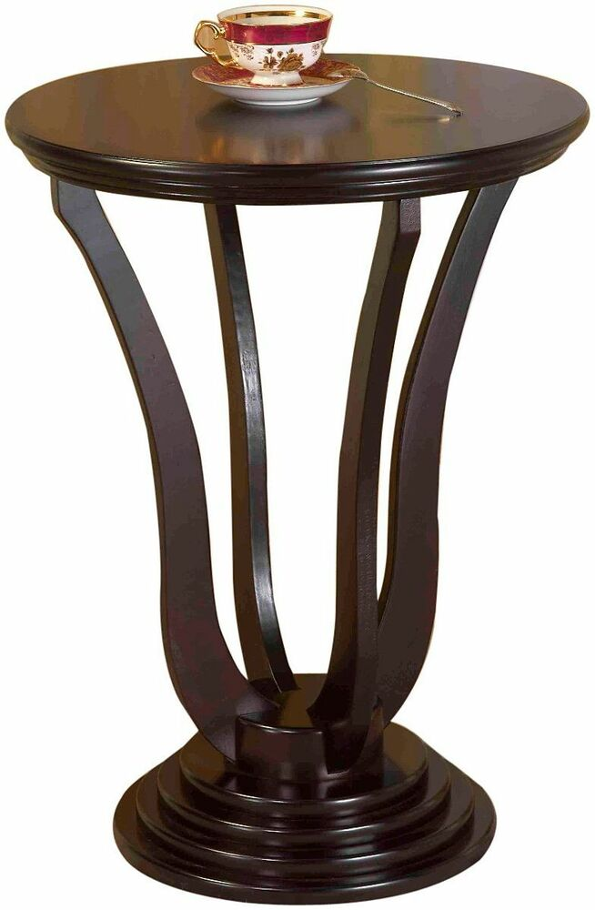 round end table wood vintage style accent lamp sofa tables espresso finish ebay. Black Bedroom Furniture Sets. Home Design Ideas