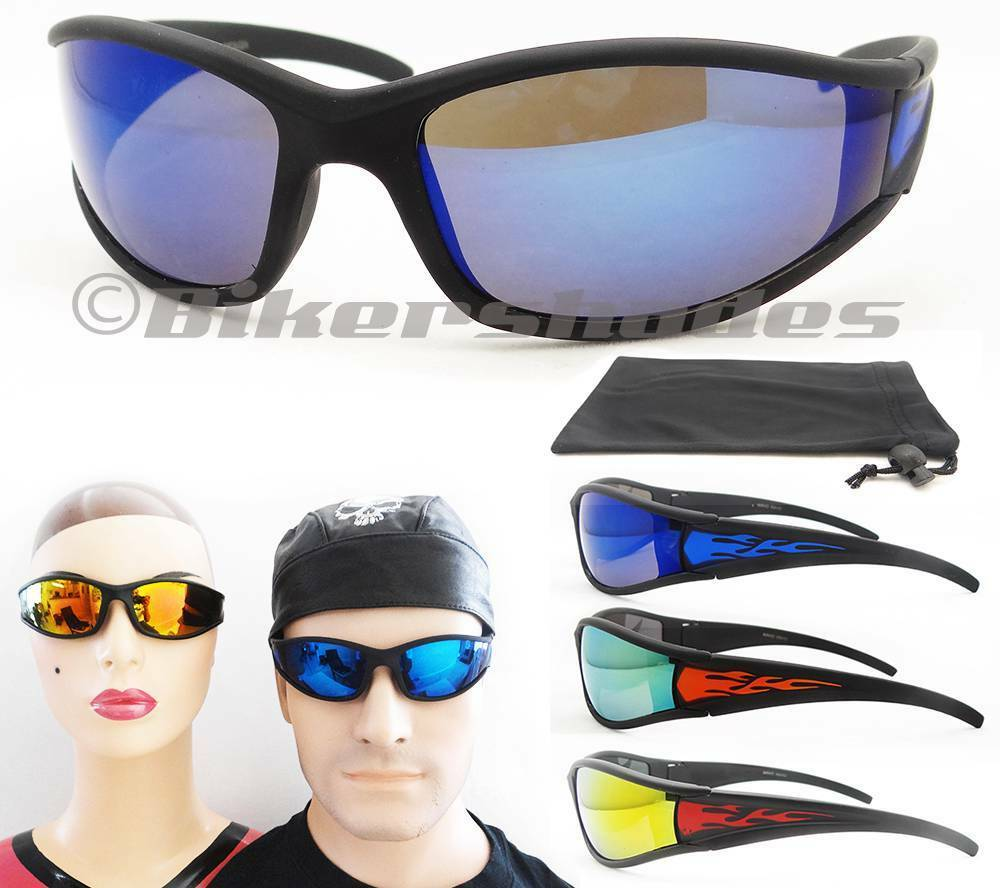 Wraparound Motorcycle Sunglasses Mirrored Lens Flame