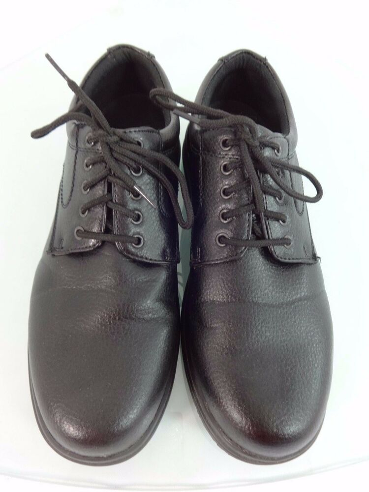 soft stags mens black leather slip resistant lace up