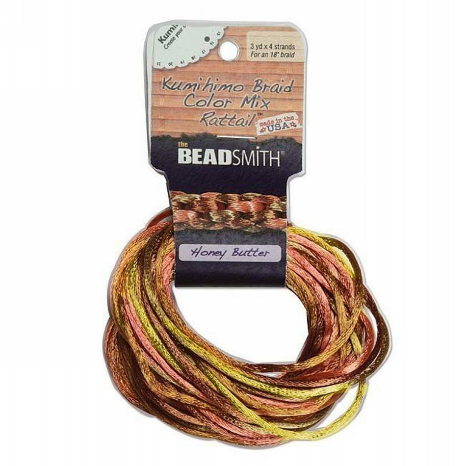 Satin Rattail Cord 2mm Honey Butter Mix 4 Color 3 Yd Ea Beadsmith Kumihimo  | eBay