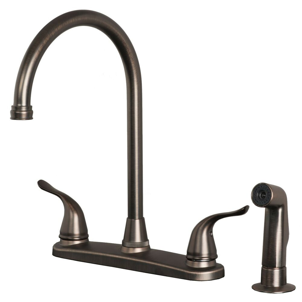 Bronze Kitchen Faucet: Classic High Arc Swivel Kitchen Faucet With Side Spray