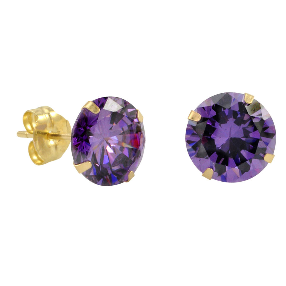 10k yellow gold purple amethyst cz stud earrings cubic. Black Bedroom Furniture Sets. Home Design Ideas