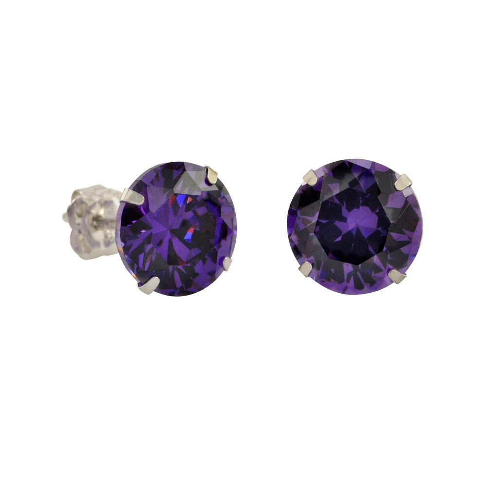 10k white gold purple amethyst cz stud earrings cubic. Black Bedroom Furniture Sets. Home Design Ideas