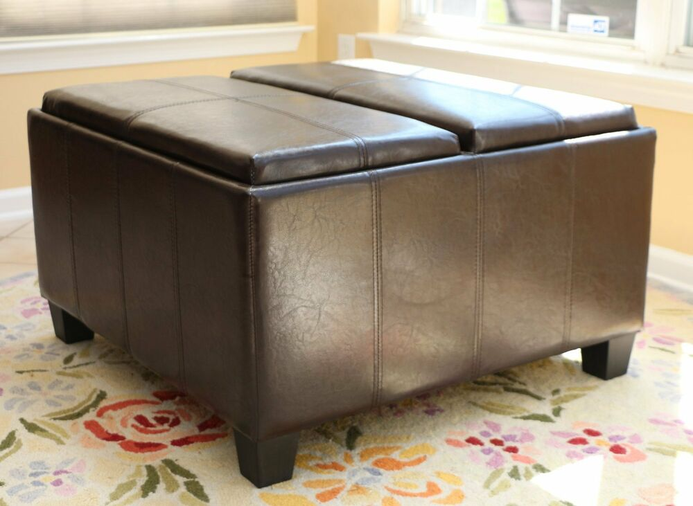 Mansfield 2 tray storage ottoman brown leather bench foot rest coffee table two ebay Brown leather ottoman coffee table