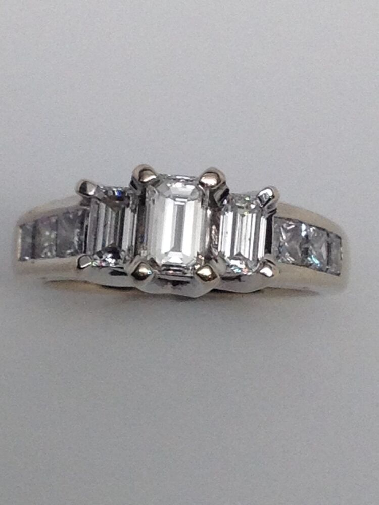 18K White Gold Three Stone Emerald Cut and Princess Cut Diamond Engagement Ri