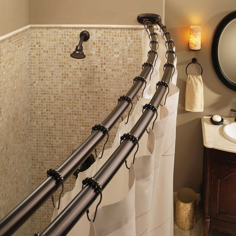 Bronze 57 60 Double Curved Adjustable Tension Shower Curtain Rod Bathroom Tub Ebay