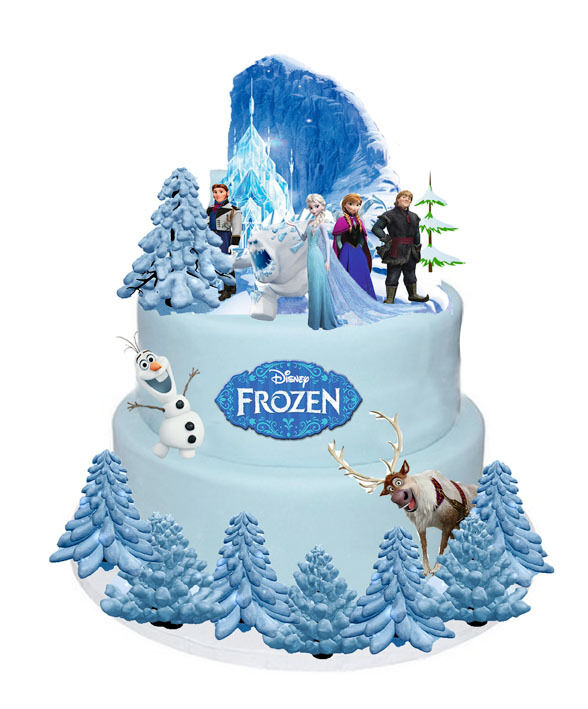 Frozen Cake Decoration Images : DISNEY FROZEN ELSA ANNA OLAF STANDS UP CAKE TOPPERS WAFER ...