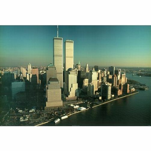 over and above twin towers poster 24x36 new york city skyline 36023 ebay. Black Bedroom Furniture Sets. Home Design Ideas