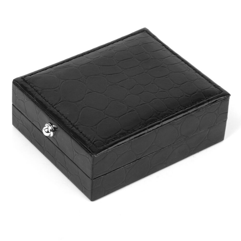 Mens cufflinks tie clip storage box case pu leather for Men s jewelry box for watches and cufflinks