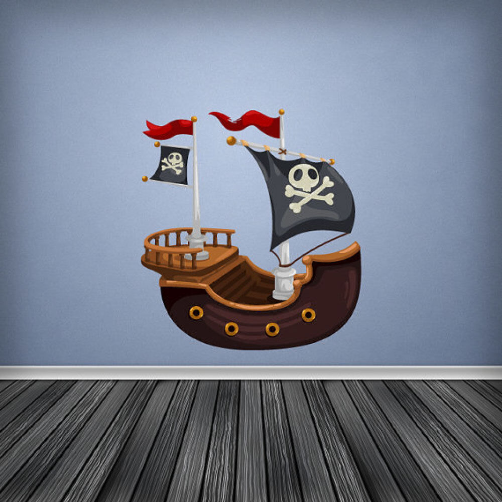 Pirateship pirate ship wall art sticker decal decor boys for Boys wall art