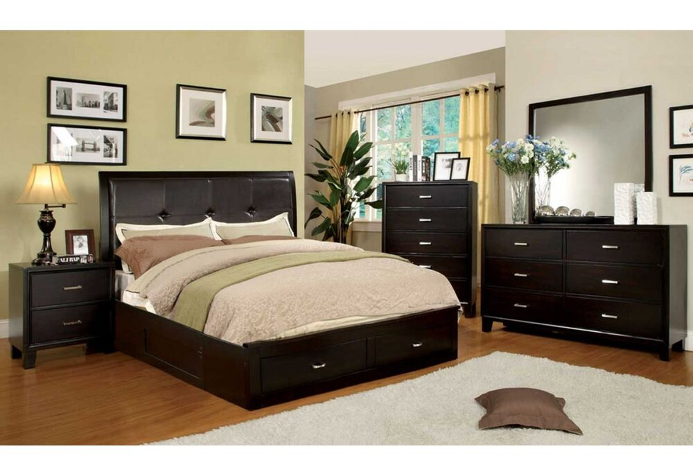 Annika espresso finish bedroom set includes bed dresser mirror night stand ebay - Simple bedroom full set ...