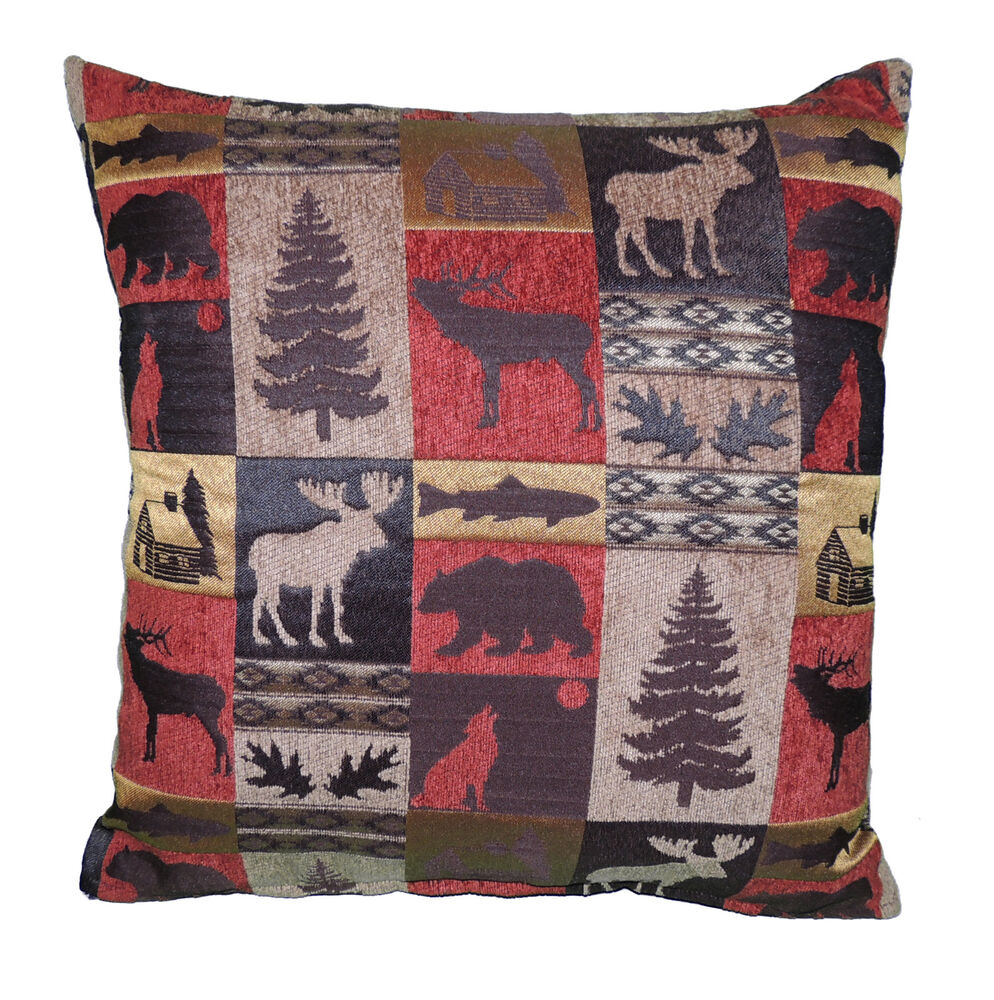 Throw Pillows Meaning : Rustic Fabric Throw Pillow 20x20 Cabin collection Lodge eBay