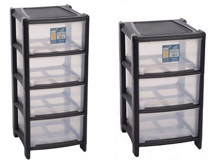 3 4 Drawer Unit Plastic Tower Storage Deep Draw Office Bedroom Organizer Large Ebay