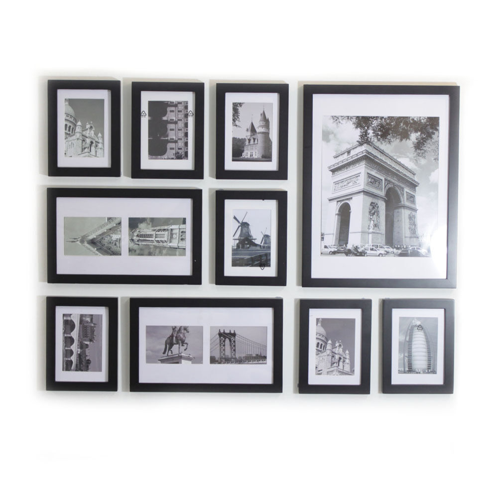 Wood photo picture frame wall collage set of 10 modern for Modern collage frame