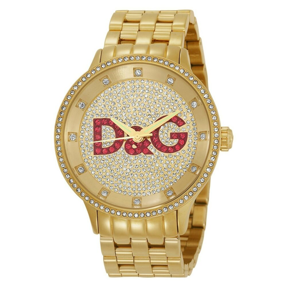 NEW D&G DOLCE & GABBANA DW0377 GOLD PRIME TIME WATCH
