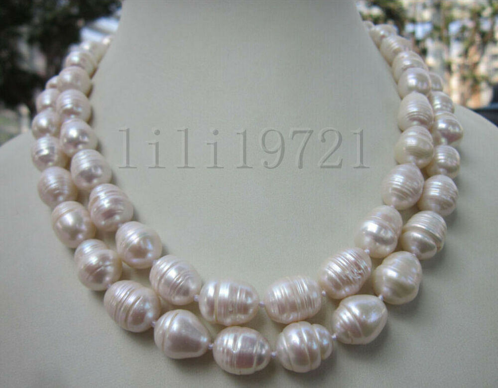9 12mm White Freshwater Cultured Baroque Pearl Necklace 35