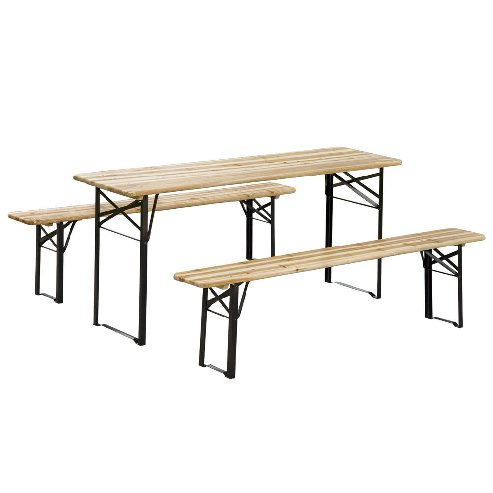 outsunny 6ft wooden german style folding picnic beer garden table set w benches ebay. Black Bedroom Furniture Sets. Home Design Ideas