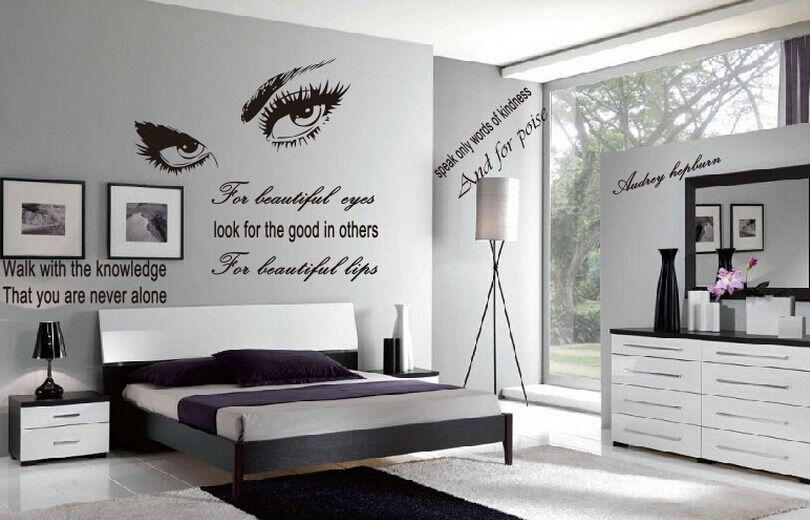 ... Beautiful Eyes Home Decor Removable Wall Stickers Quote Decal | eBay