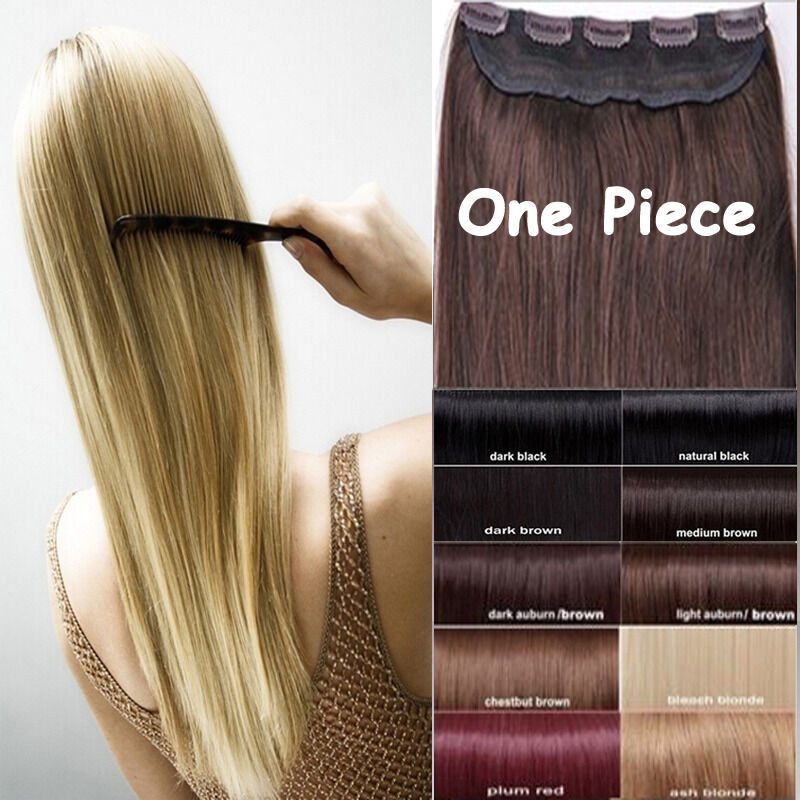 One piece remy hair extensions ebay one piece real clip in remy human hair extensions full head ep highlight us pmusecretfo Images