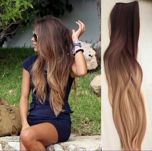 22\u0026quot; One piece clip in hair extensions Brown Wavy Blonde Dip dye Ombre Long