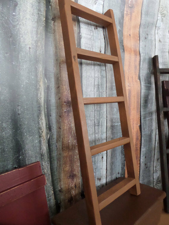 Primitive rustic oak ladder home wall decor jewelry tie for Ladder house decor