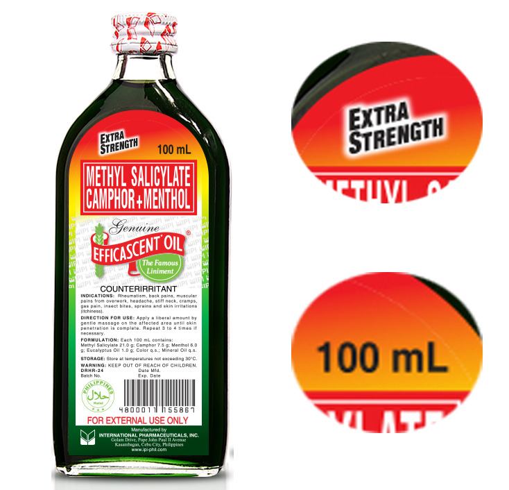 extra strength 100ml efficascent oil heats when rubbed
