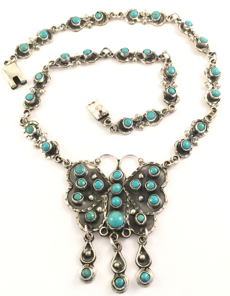 Taxco Mexican Sterling Silver Turquoise Butterfly Necklace